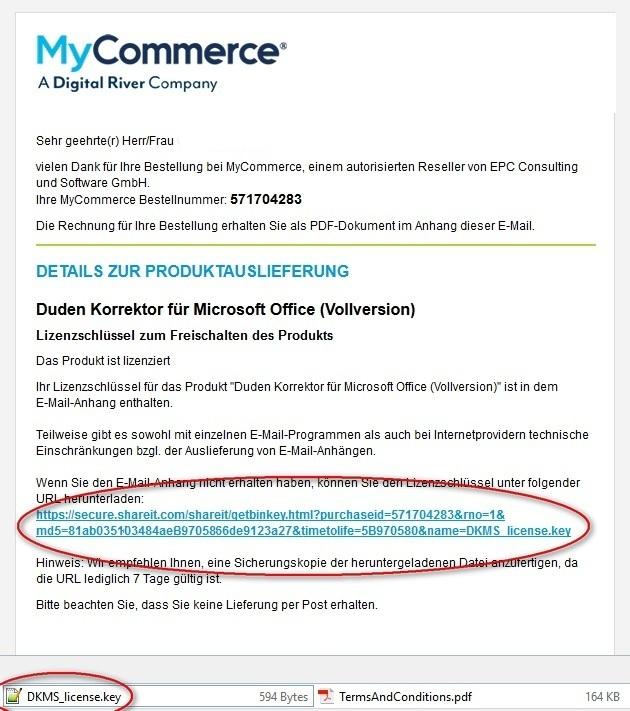 Ansicht der E-Mail von MyCommerce.
