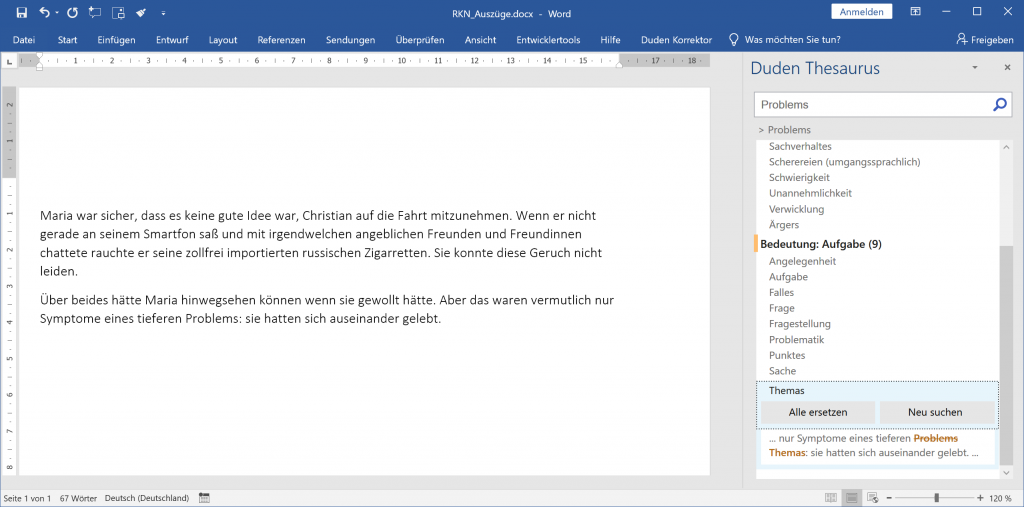 Ein Screenshot des Duden Thesaurus.