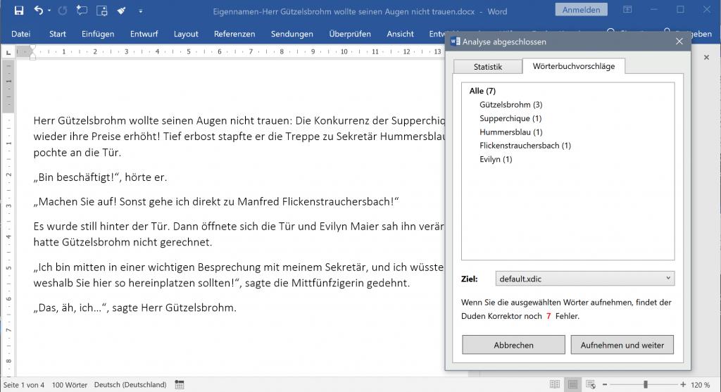 Screenshot einer der Funktionen des Duden Korrektors 13 für Microsoft Office: Wörterbuchvorschläge, bei denen es sich vermutlich um Eigennamen handelt.